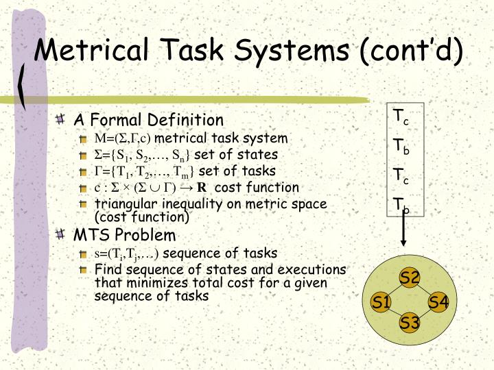 Metrical Task Systems (cont'd)