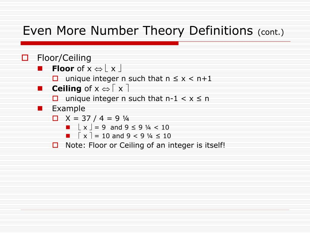 Even More Number Theory Definitions
