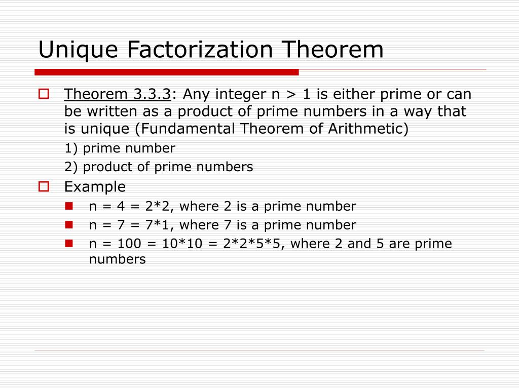 Unique Factorization Theorem