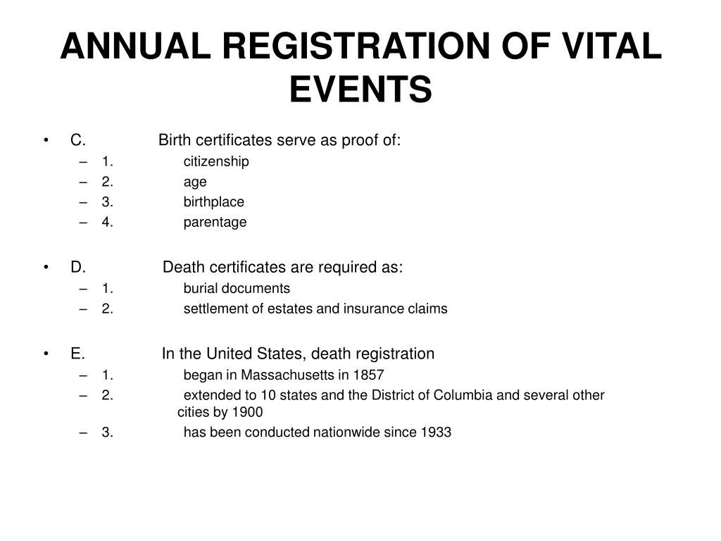 ANNUAL REGISTRATION OF VITAL EVENTS