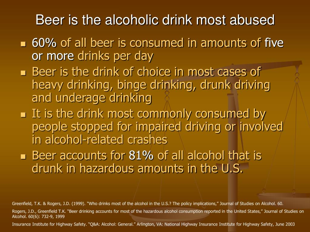 Beer is the alcoholic drink most abused