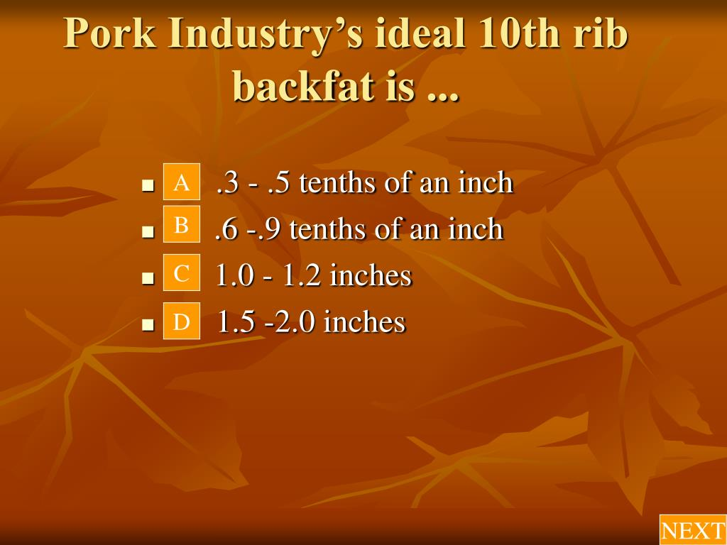 Pork Industry's ideal 10th rib backfat is ...