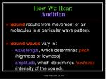 how we hear audition