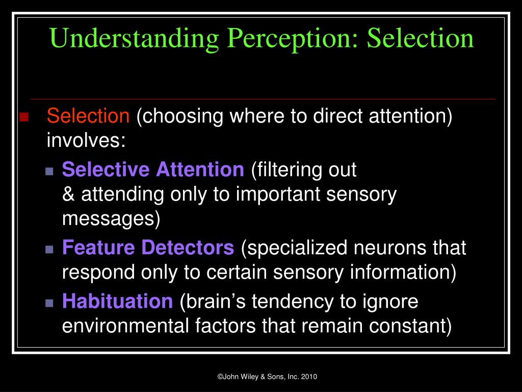 Understanding Perception: Selection