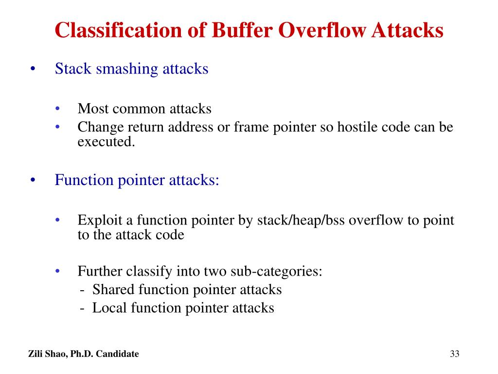 Classification of Buffer Overflow Attacks