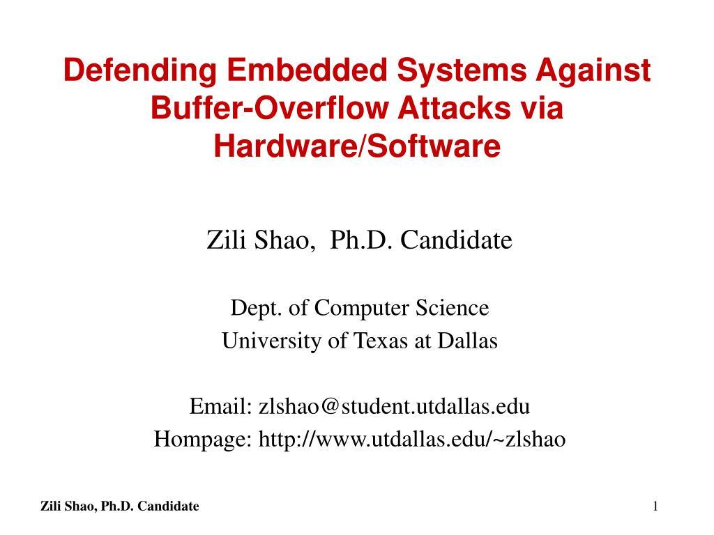 Defending Embedded Systems Against Buffer-Overflow Attacks via