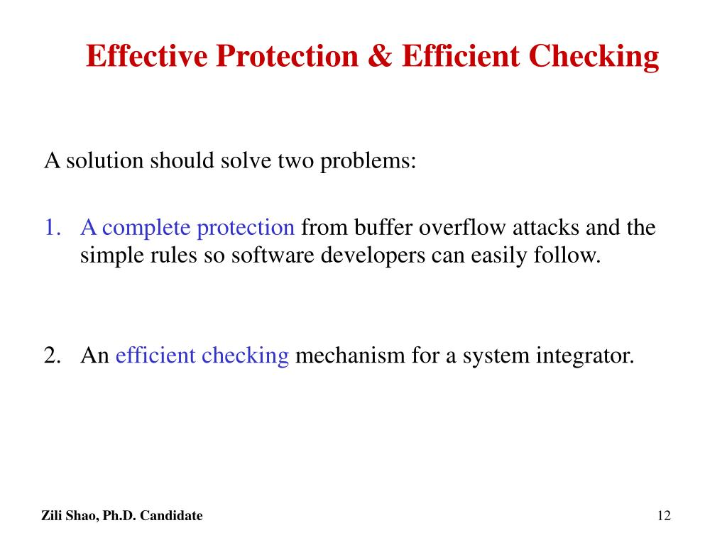 Effective Protection & Efficient Checking