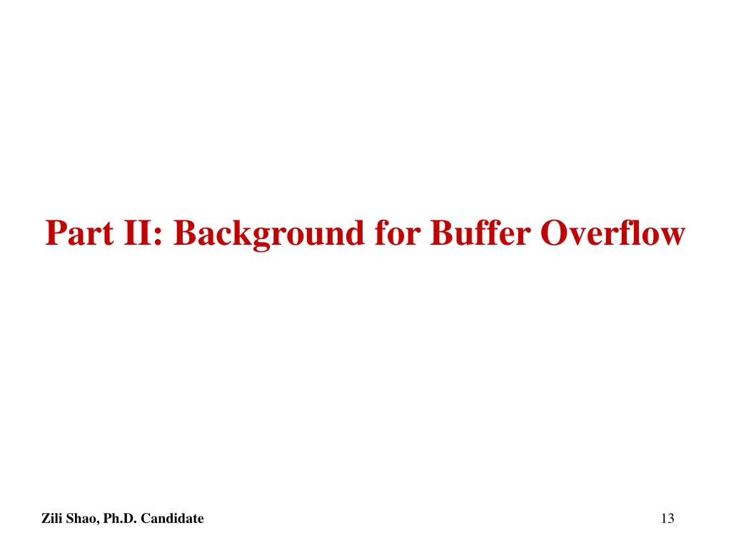 Part II: Background for Buffer Overflow