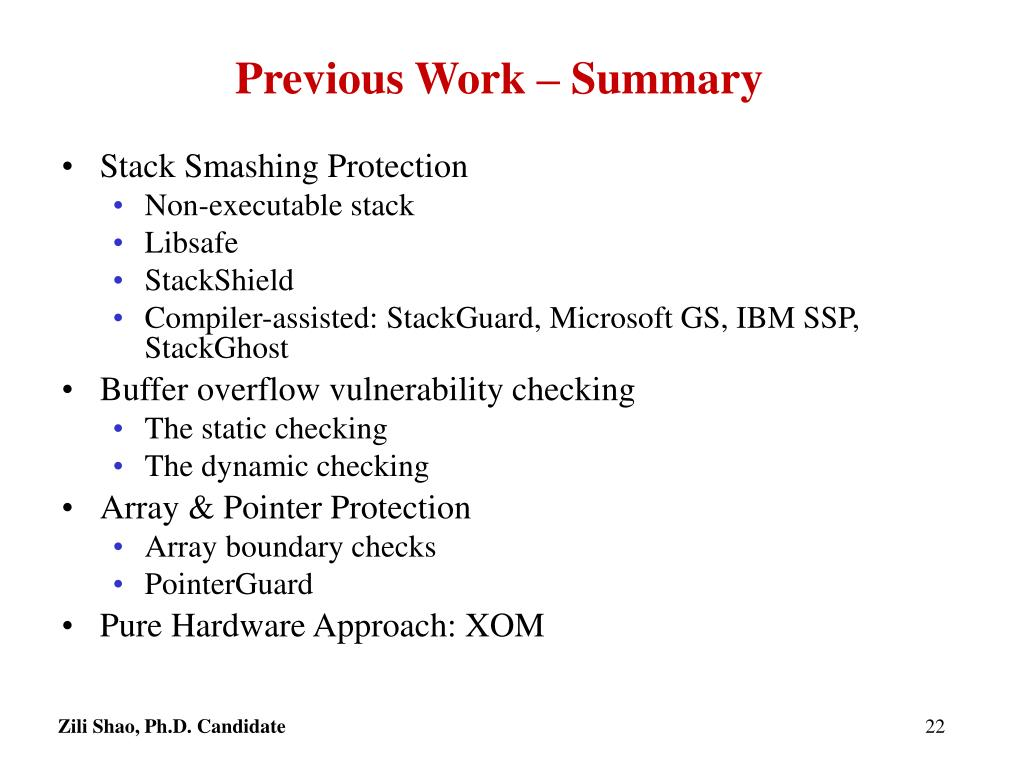 Previous Work – Summary
