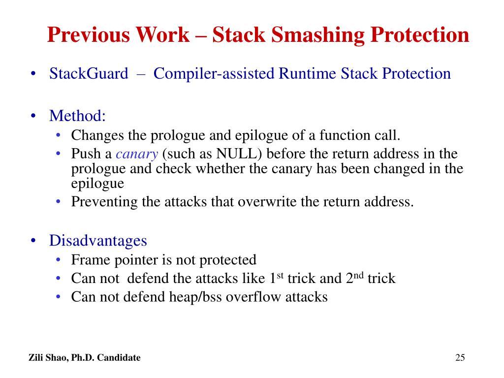 Previous Work – Stack Smashing Protection