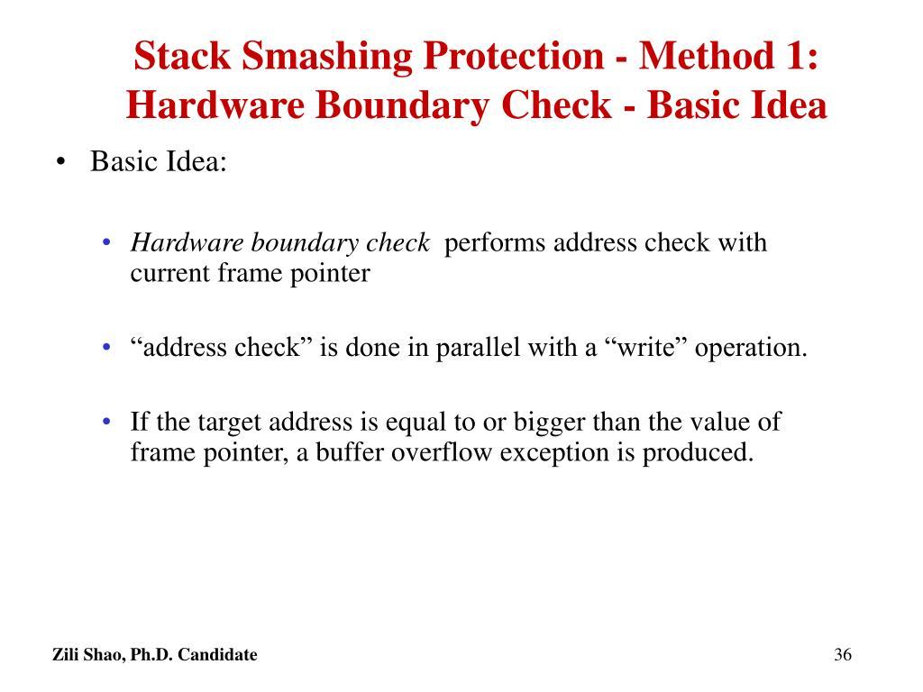 Stack Smashing Protection - Method 1: Hardware Boundary Check - Basic Idea