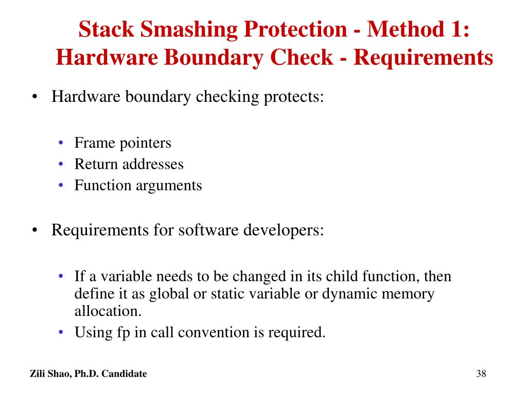 Stack Smashing Protection - Method 1: Hardware Boundary Check - Requirements