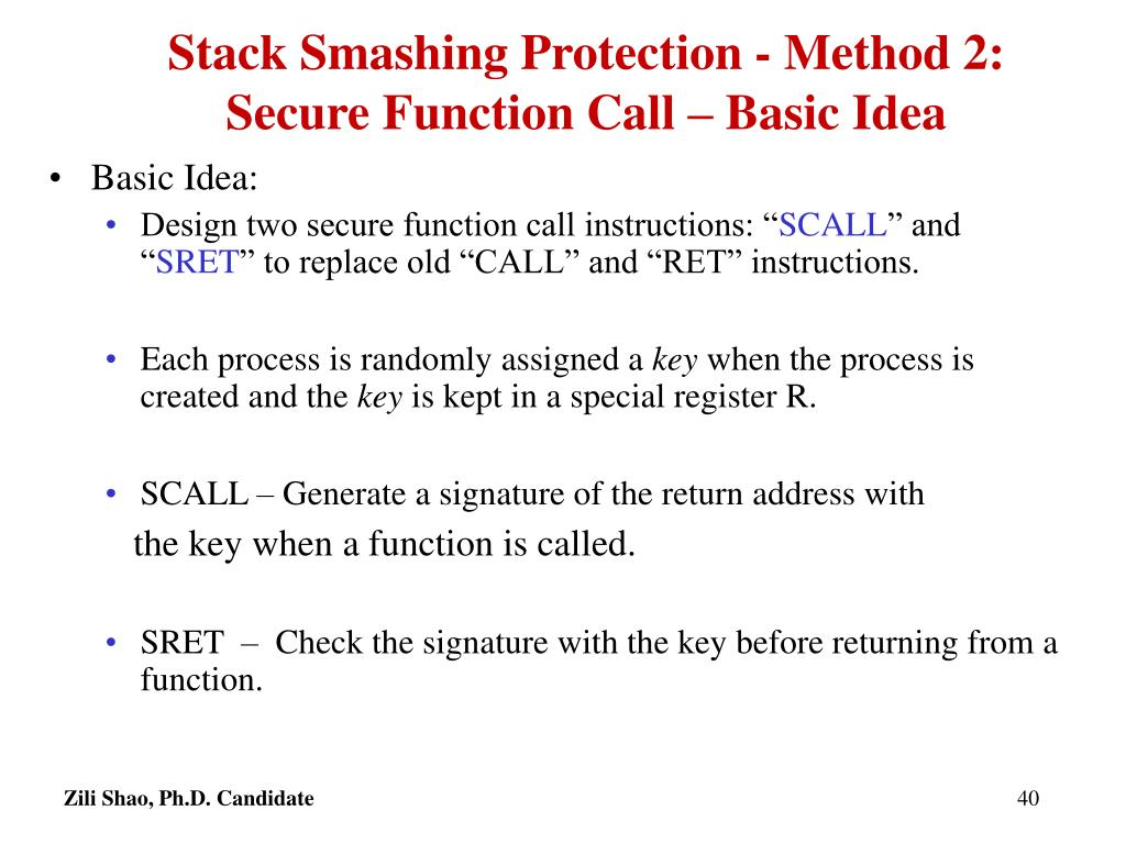 Stack Smashing Protection - Method 2: Secure Function Call – Basic Idea
