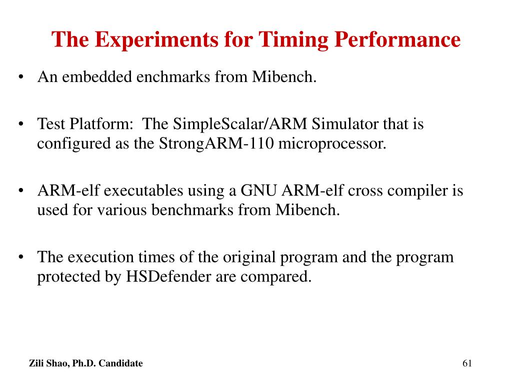 The Experiments for Timing Performance