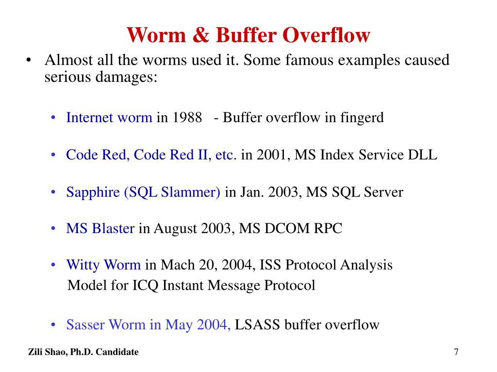 Worm & Buffer Overflow