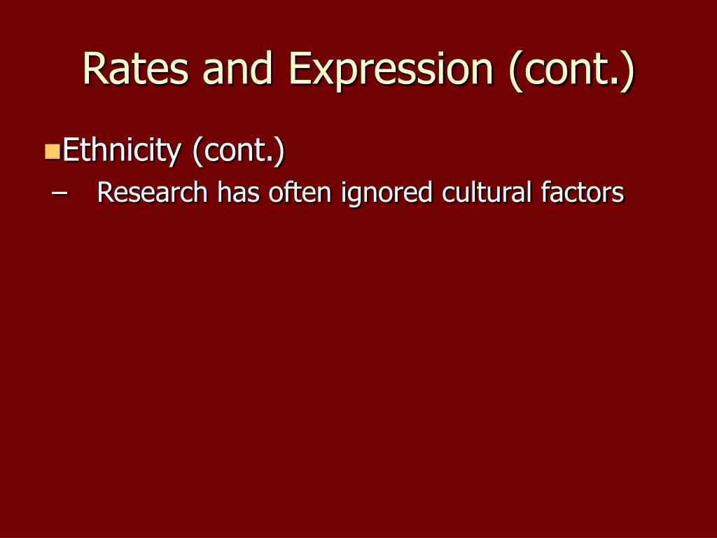 Rates and Expression (cont.)