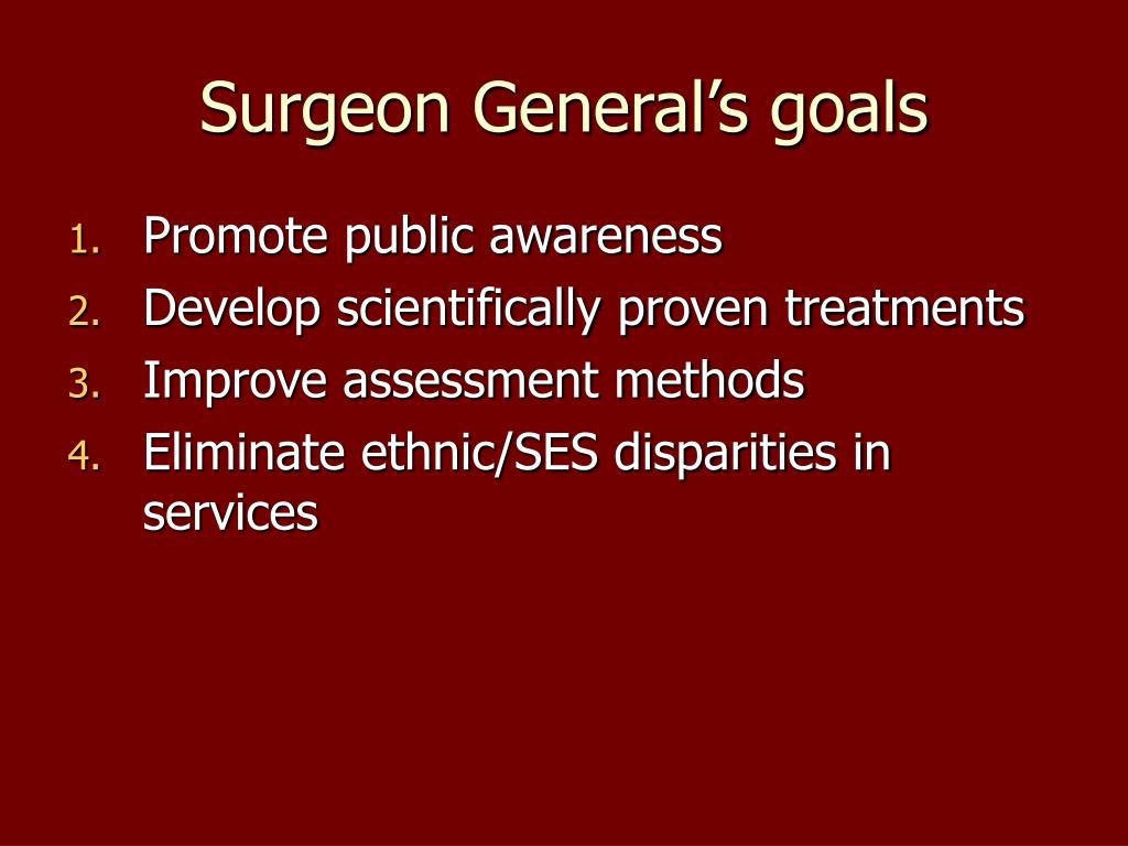 Surgeon General's goals