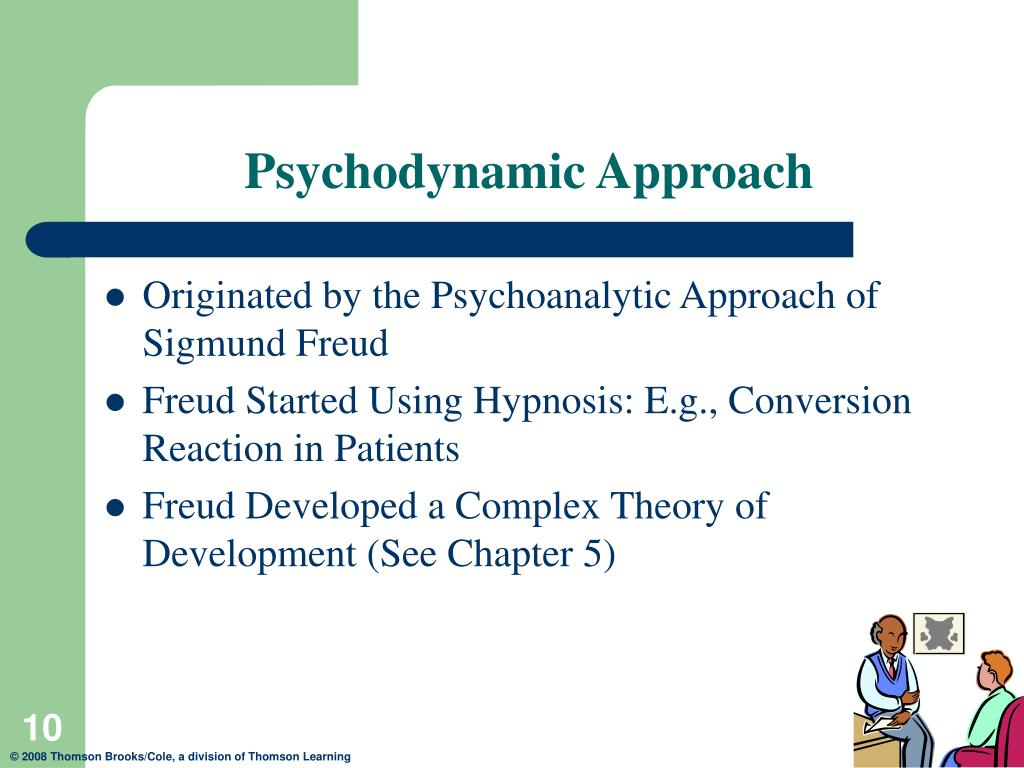 the psychodynamic approach Psychodynamic therapy, also known as insight-oriented therapy, focuses on unconscious processes as they are manifested in a person's present behavior the goals of psychodynamic therapy are.