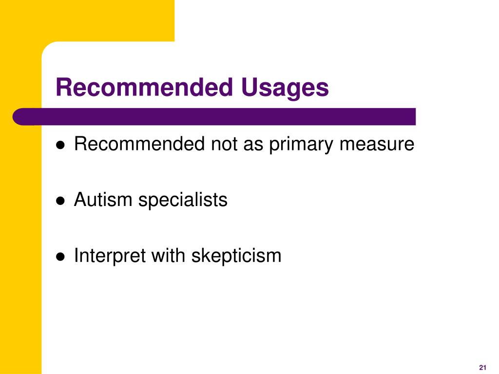 Recommended Usages