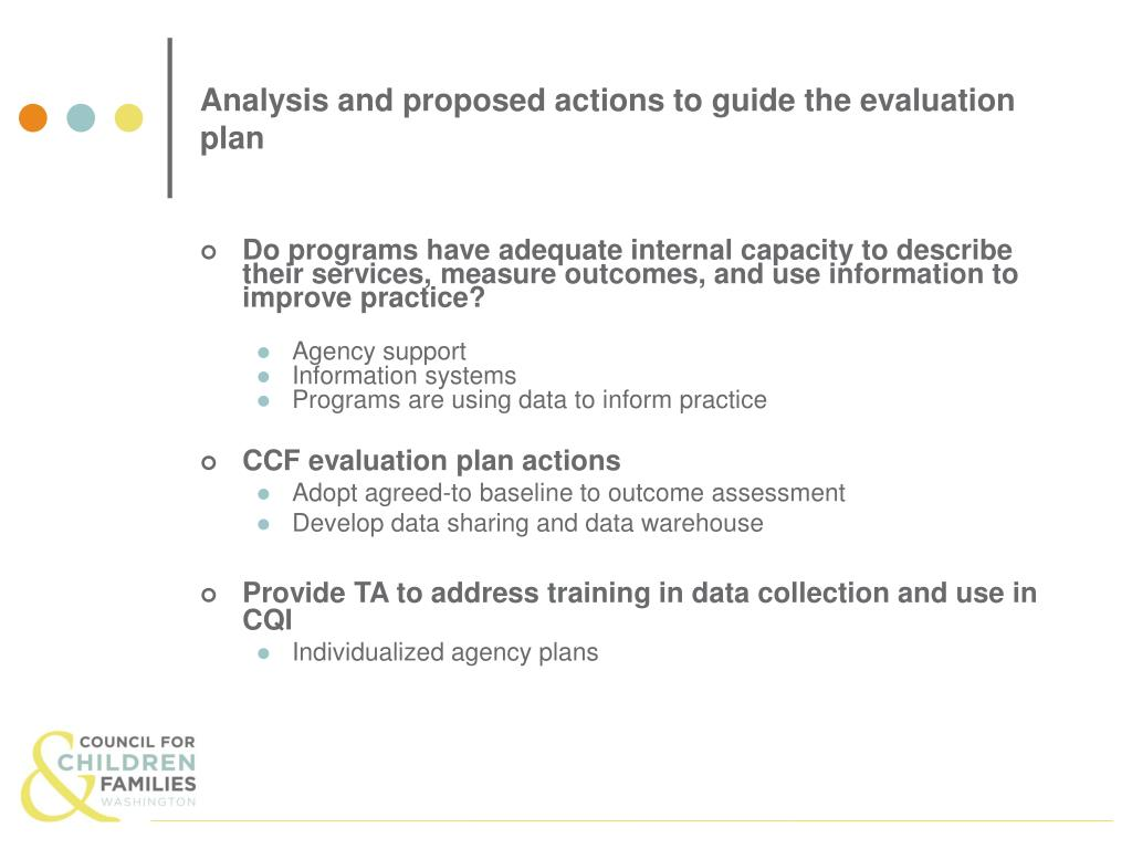 Analysis and proposed actions to guide the evaluation plan