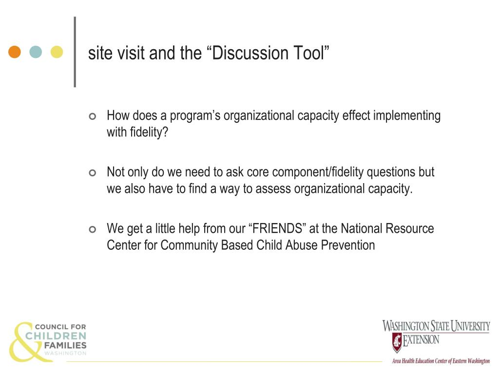 "site visit and the ""Discussion Tool"""