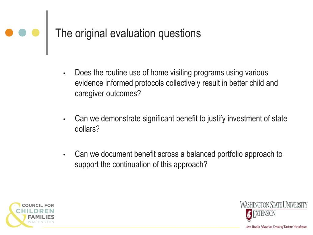 The original evaluation questions