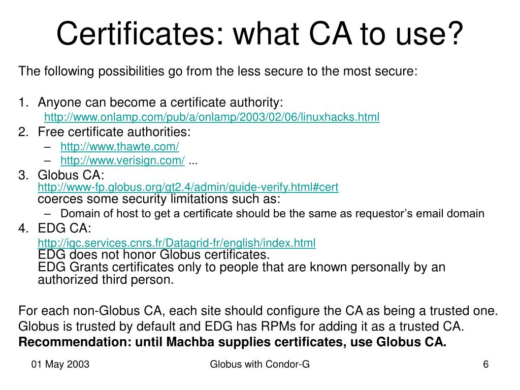 Certificates: what CA to use?