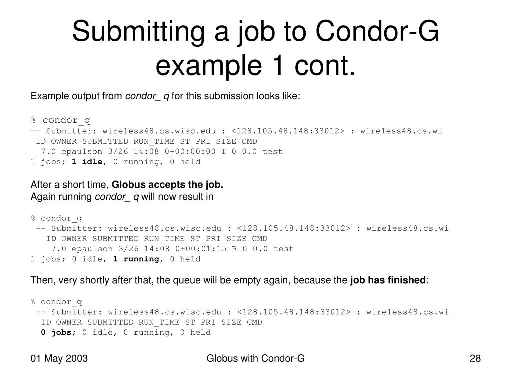 Submitting a job to Condor-G example 1 cont.