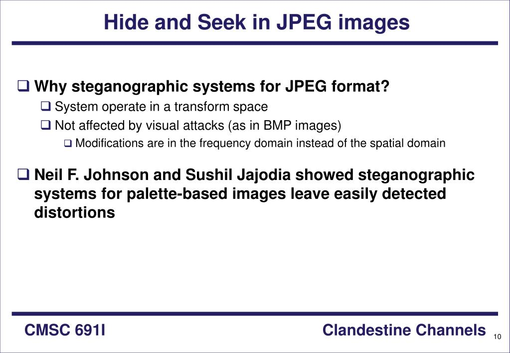 Hide and Seek in JPEG images