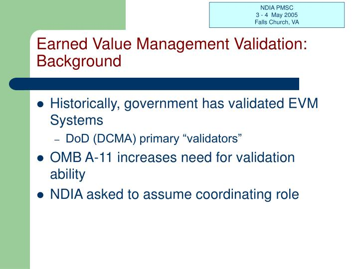 Earned value management validation background