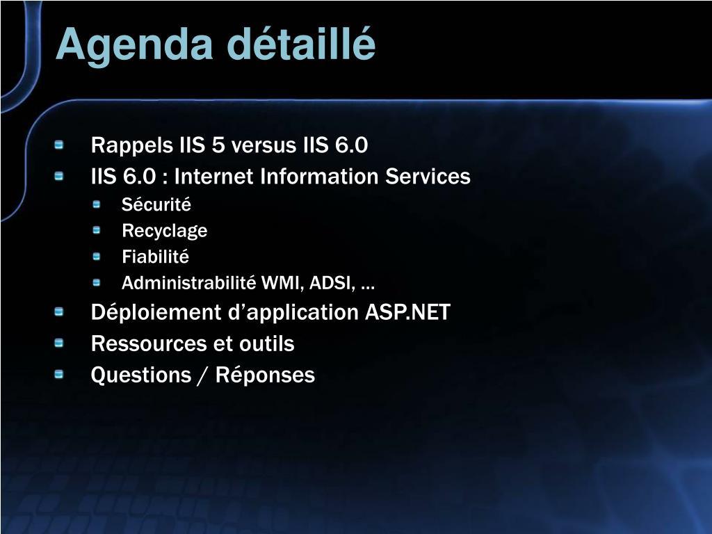 Agenda détaillé
