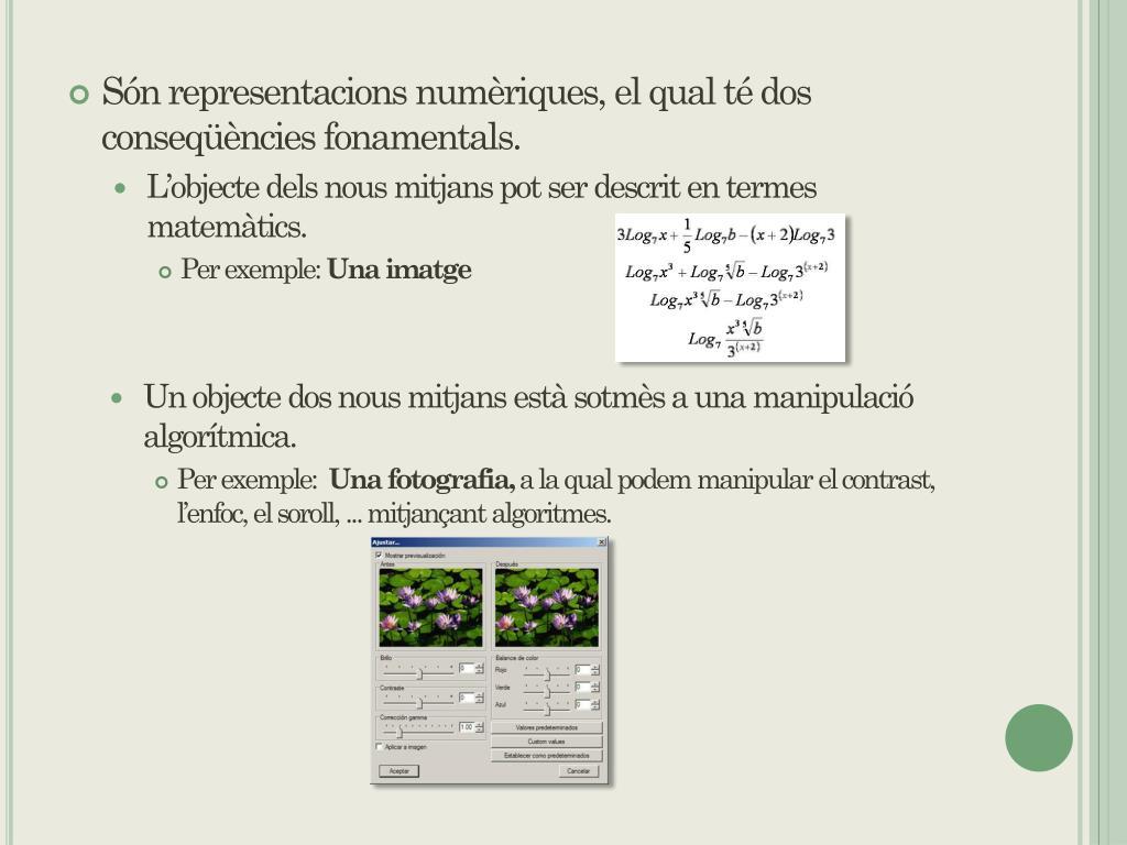 Són representacions numèriques, el qual té dos conseqüències fonamentals.