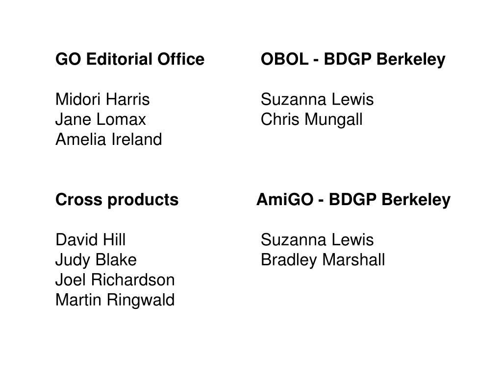 GO Editorial Office OBOL - BDGP Berkeley