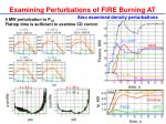 examining perturbations of fire burning at