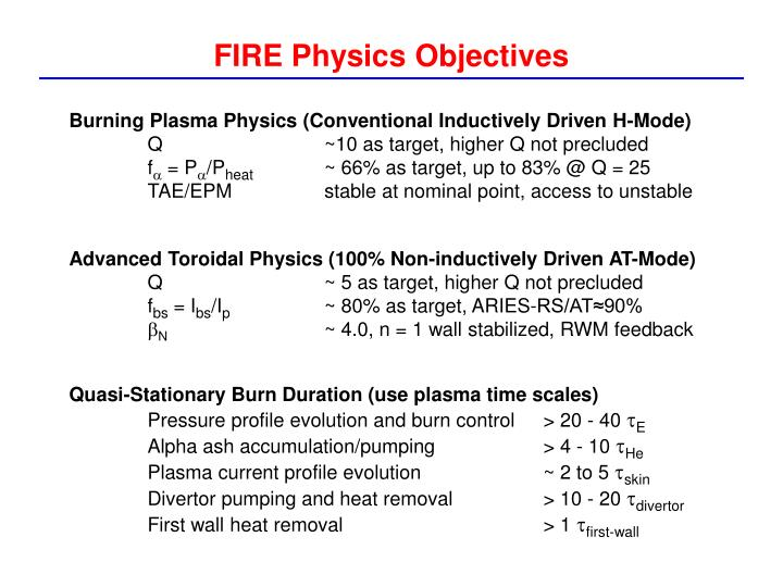 FIRE Physics Objectives