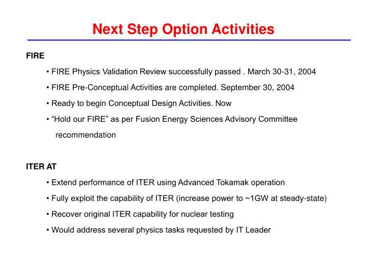 Next Step Option Activities