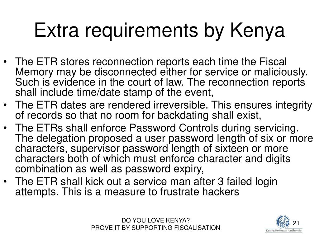Extra requirements by Kenya