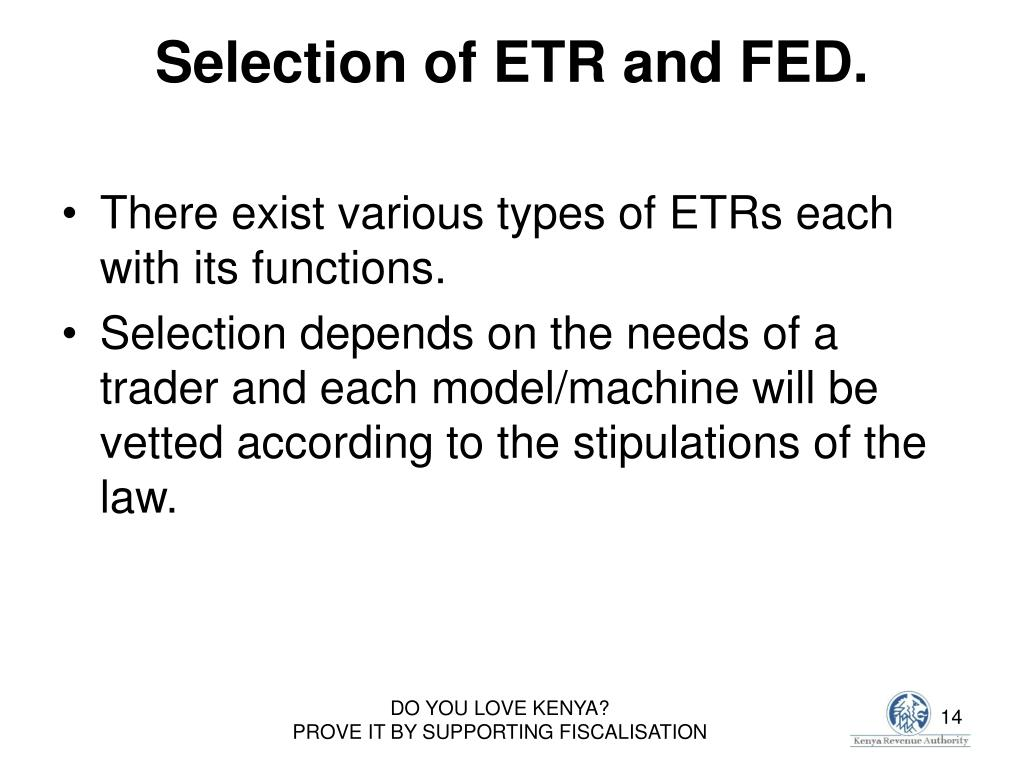 Selection of ETR and FED.