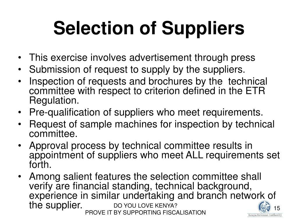 Selection of Suppliers