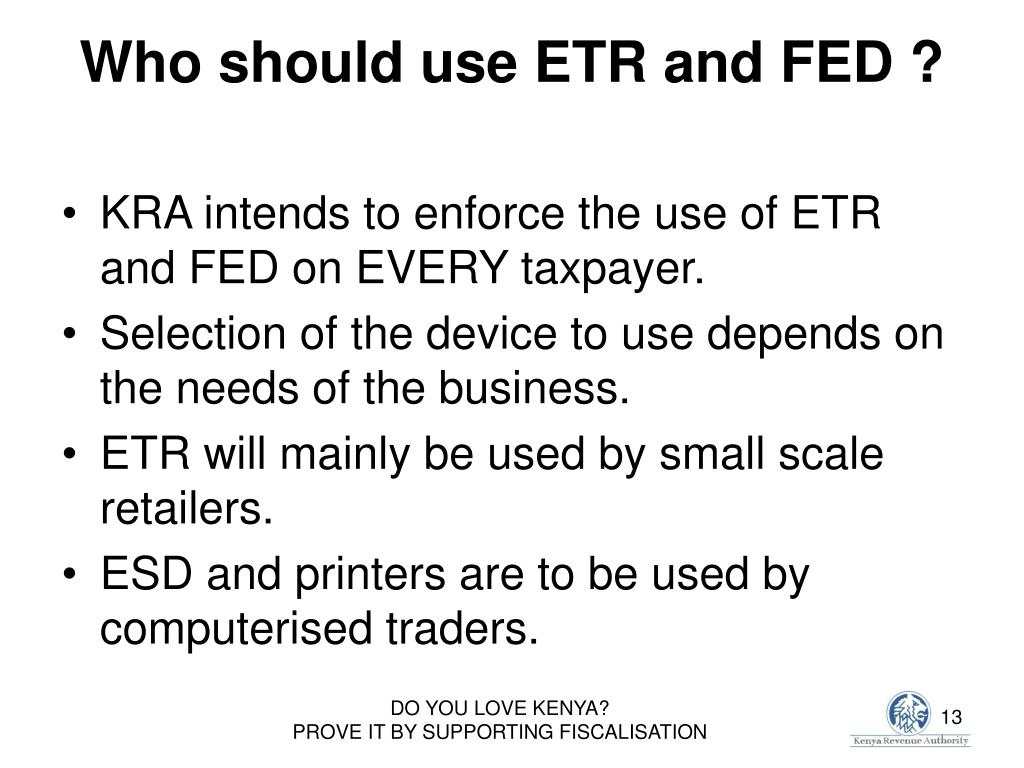 Who should use ETR and FED ?