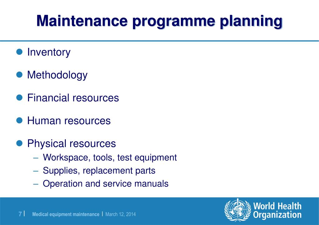Maintenance programme planning
