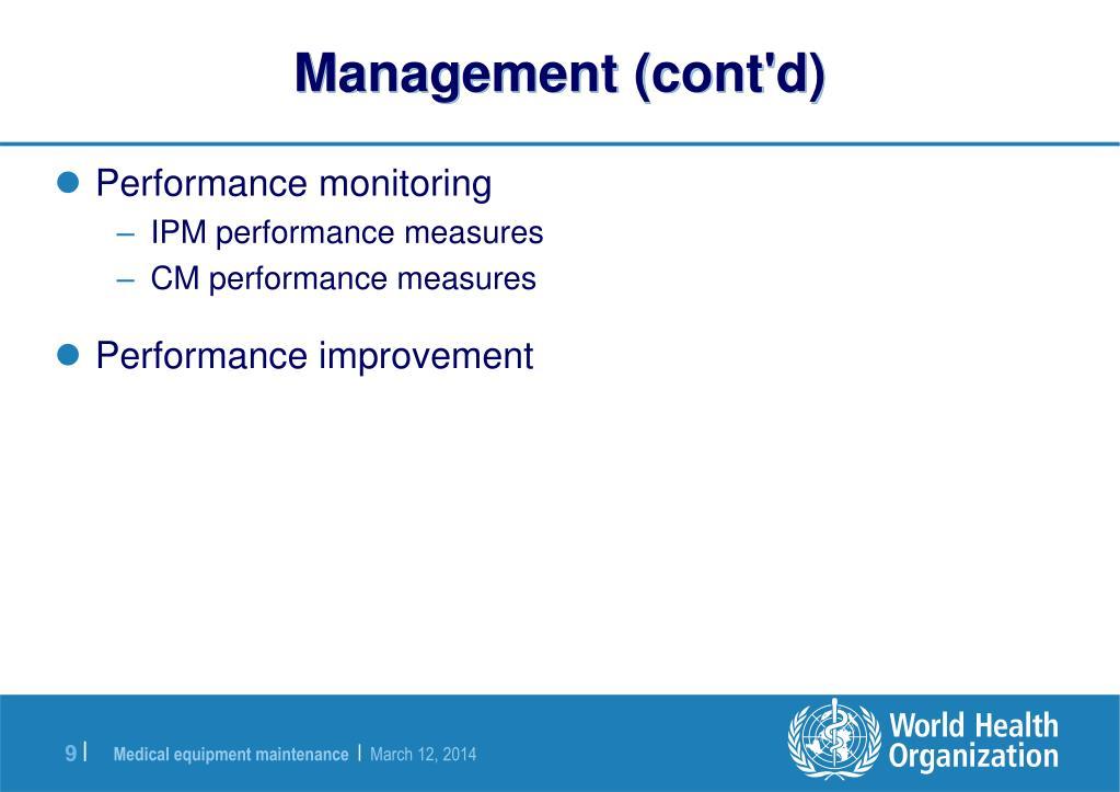 Management (cont'd)