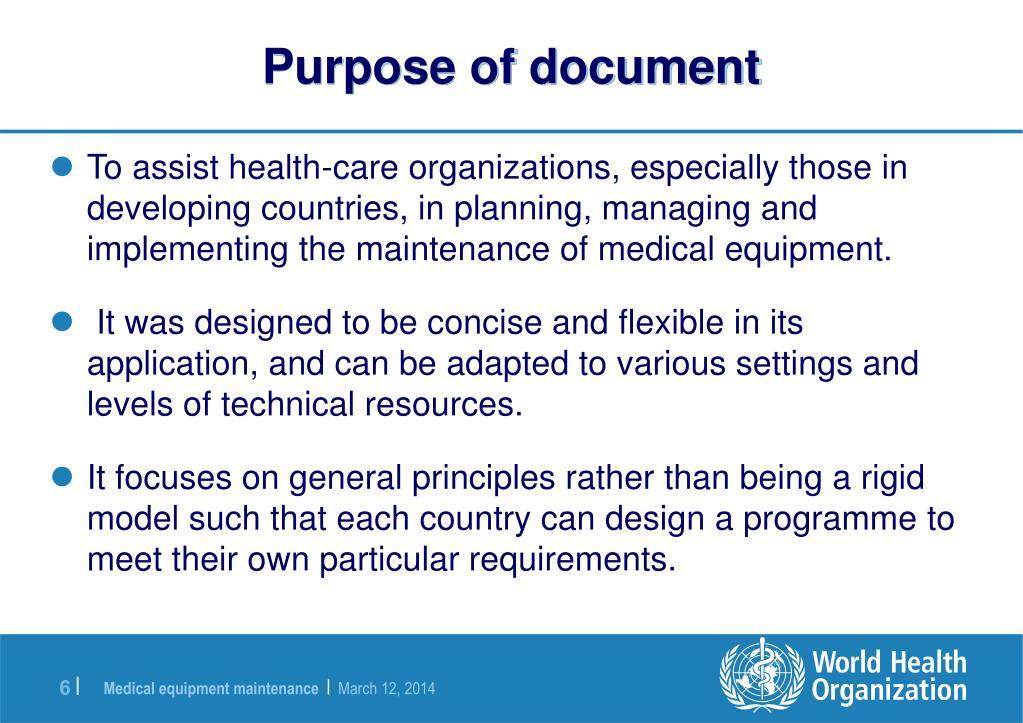 Purpose of document