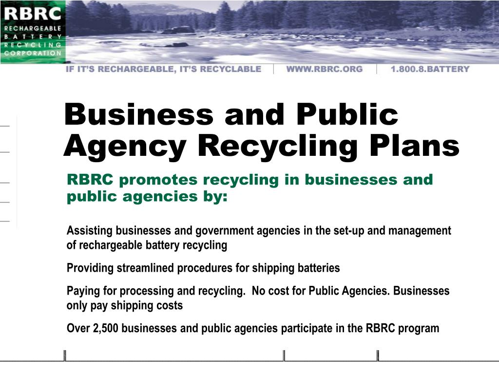 Business and Public Agency Recycling Plans