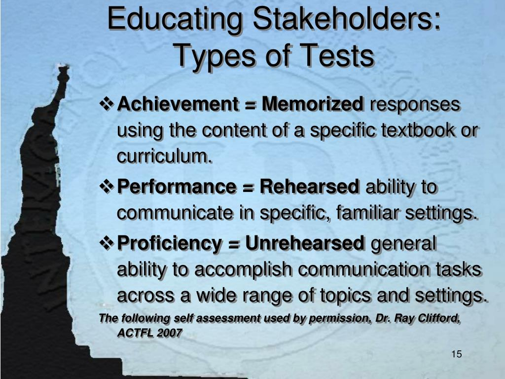 Educating Stakeholders: Types of Tests