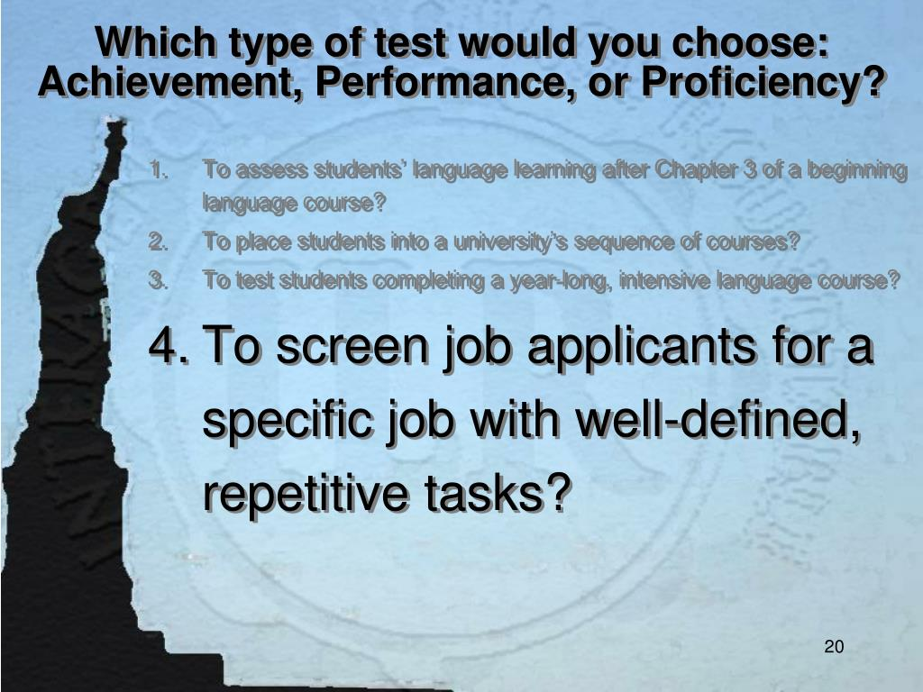 Which type of test would you choose: