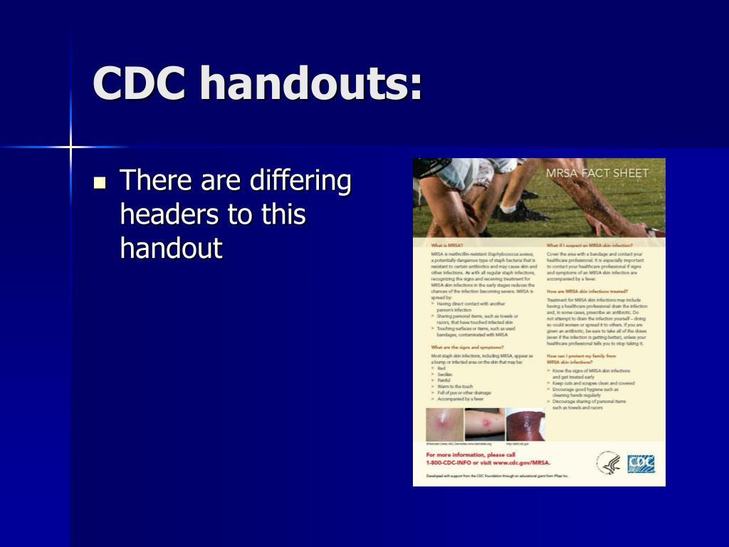 CDC handouts: