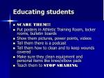 educating students
