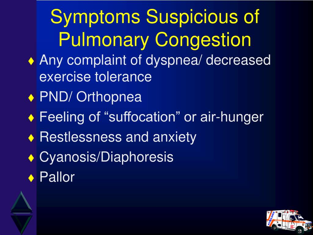 Symptoms Suspicious of Pulmonary Congestion