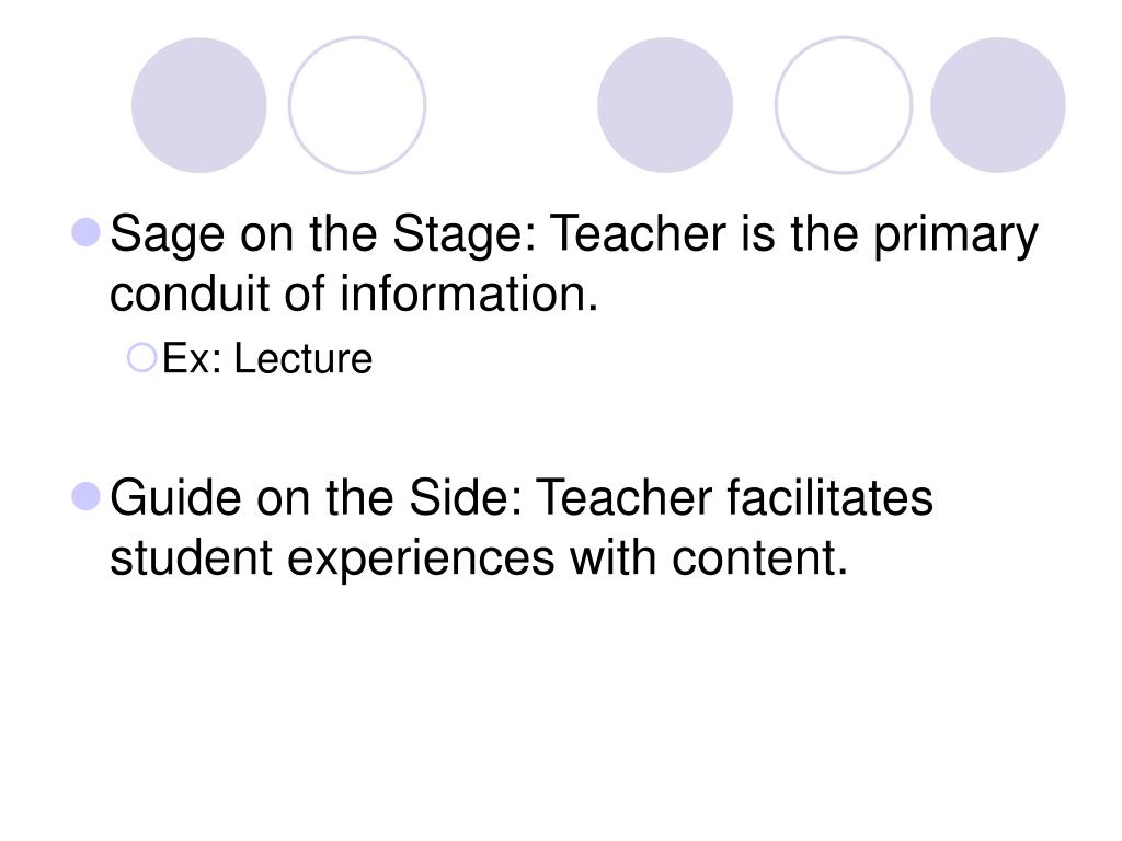 Sage on the Stage: Teacher is the primary conduit of information.